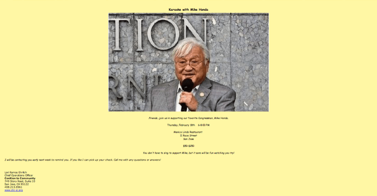 Nonprofit exec Lori Ramos Ehrlich sent this flyer with her work signature and contact information while trying to raise money for Congressman Mike Honda.