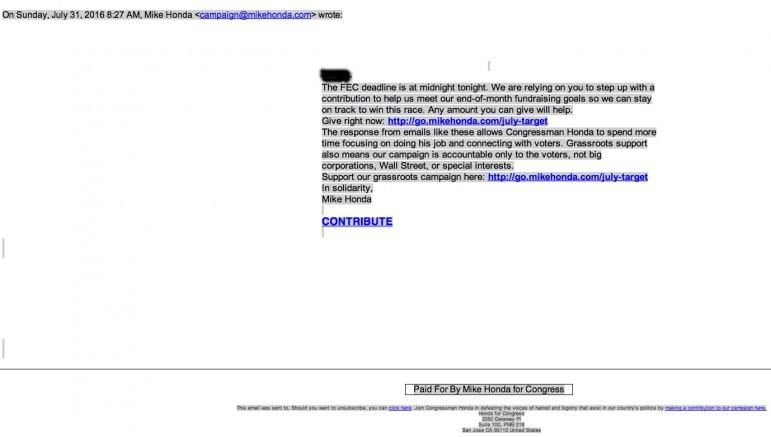 Mike Honda FEC Deadline Email