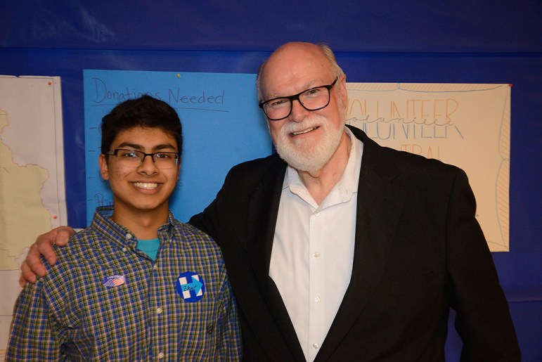 State Sen. Jim Beall (right) racked up another term with an easy re-election victory. (Photo by Greg Ramar)