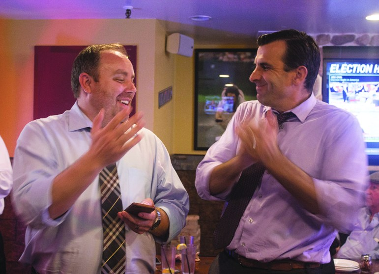 Lee Wilcox (left) and San Jose Mayor Sam Liccardo were feeling good about the direction of the city. (Photo by Taylor Jones)