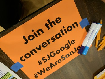 A leaflet at a community meeting hosted by community groups to talk about Google's potential impact. (Photo by Jennifer Wadsworth)
