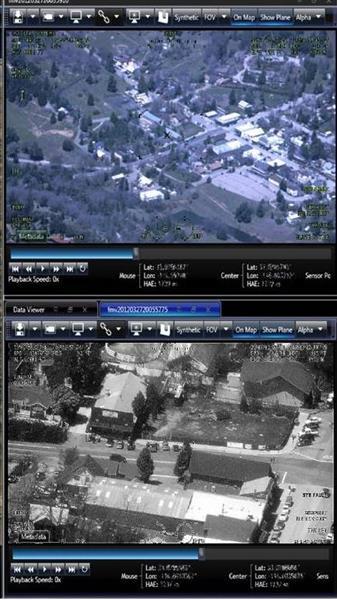 無人航空機「ガーディアン」が撮影した動画の一コマ。上は可視光、下は赤外線のカメラによるもの(米ジェネラル・アトミクス・エアロノーティカル・システムズ社提供)