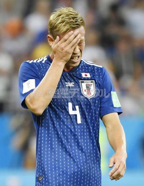ベルギーに敗れ 悔しそうな表情の本田=ロストフナドヌー(共同)