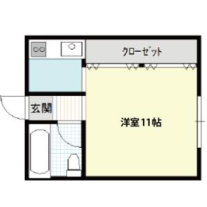 【秋田県・にかほ市平沢字新町】賃貸 アパート 1K|アーバンハウス|間取り図