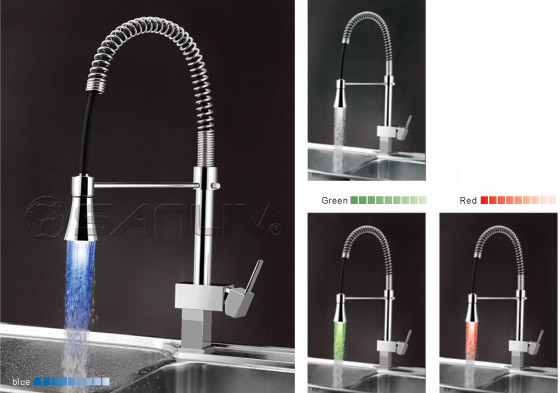 single kitchen faucet yellow table handle pull down led pullout spray