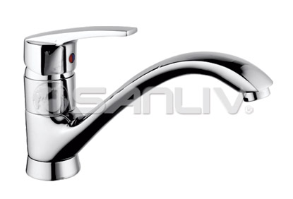 heavy duty kitchen faucet bar stools ikea single handle one hole faucets sanliv lever brass 67881