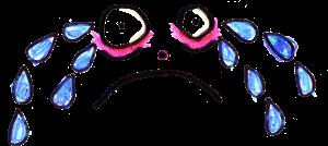 En tecknad figur som gråter jättestora tårar