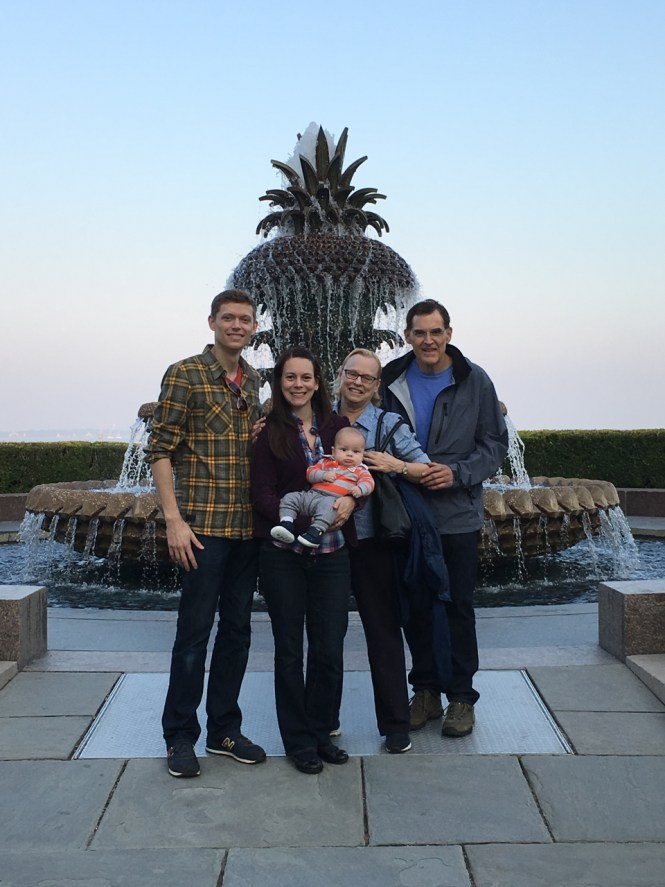 Charleston's pineapple fountain is a great backdrop for family photos