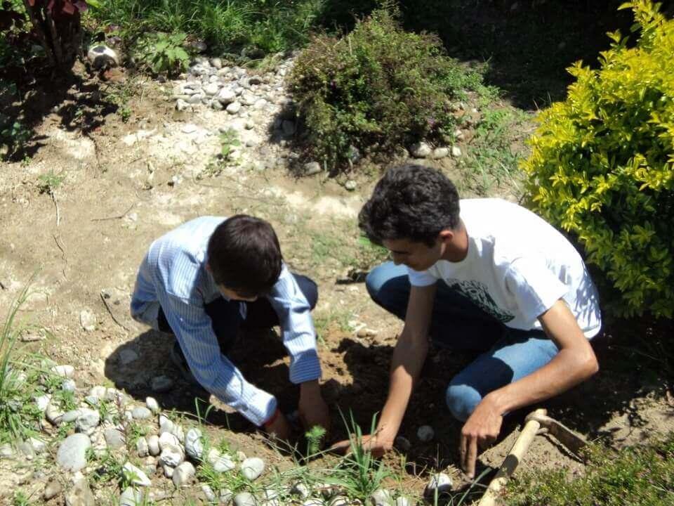 Sagar Aryal Guiding Students For Plantation