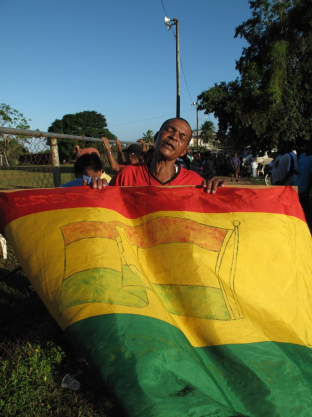 An enthusiastic supporter at a football match we ended our first day.