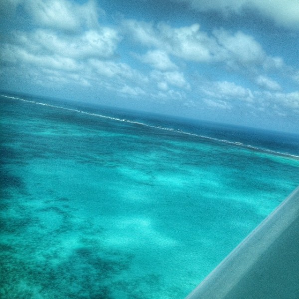Flying over the reef. Tropic Air. San Pedro, Belize