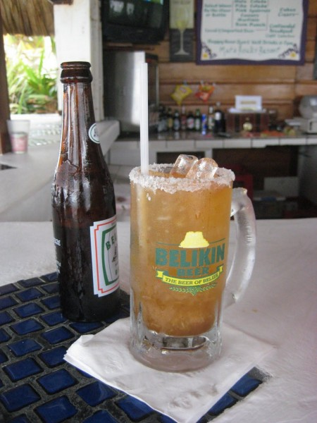 A Michelada or breakfast beer or hangover cure. Beer with spices and worcestershire.