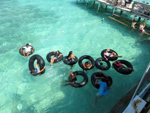Inner Tubes and outside swimming hole, San Pedro, Belize
