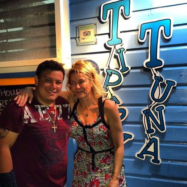 Chelsea Handler out partying at the Tipsy Tuna in Placencia