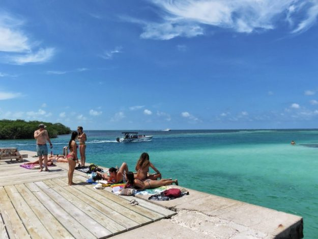 Sunning at the Split on Caye Caulker, Belize