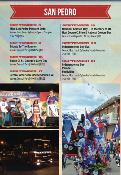 2016 Schedule of September Celebrations, San Pedro, Belize