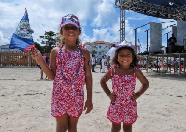 Little girls on St George's Caye celebrations in San Pedro, Belize
