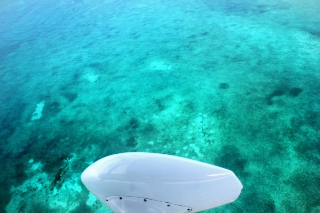 View from plane flying Belize