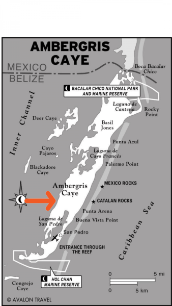 Map of Ambergris Caye and Secret Beach