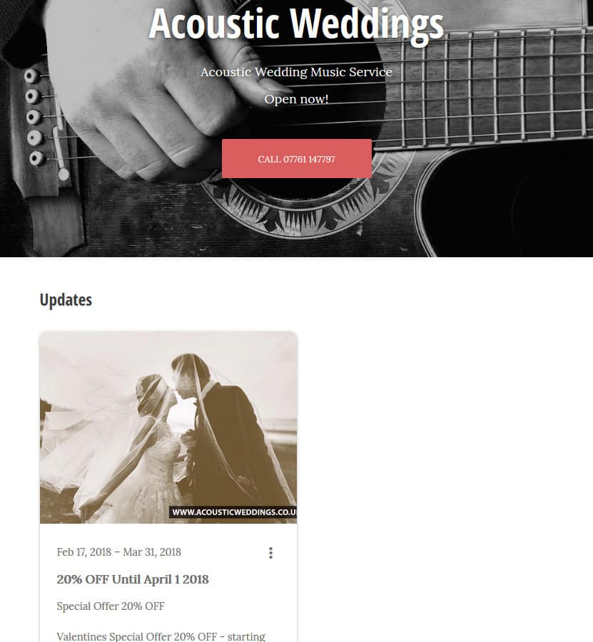 Acoustic Weddings google my business