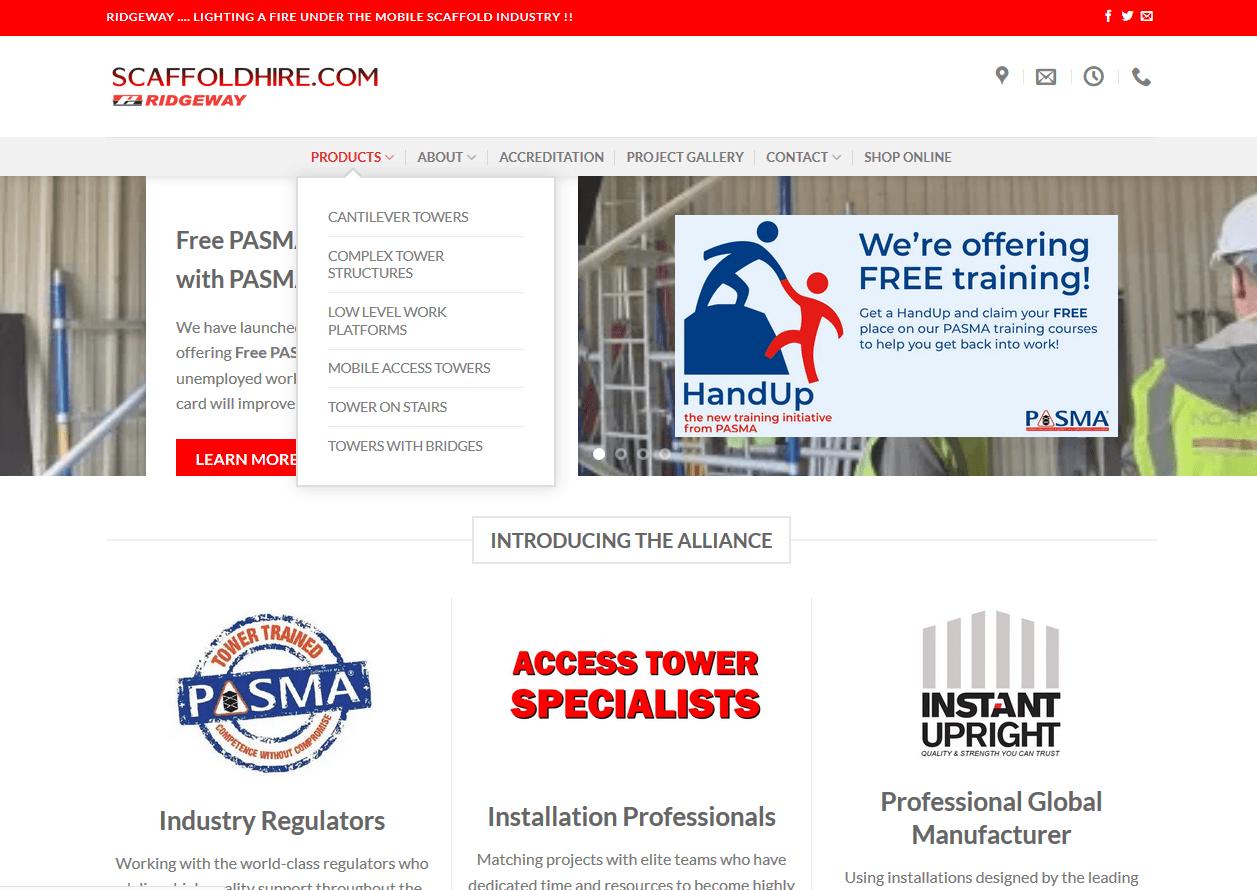 product menu on scaffoldhire.com