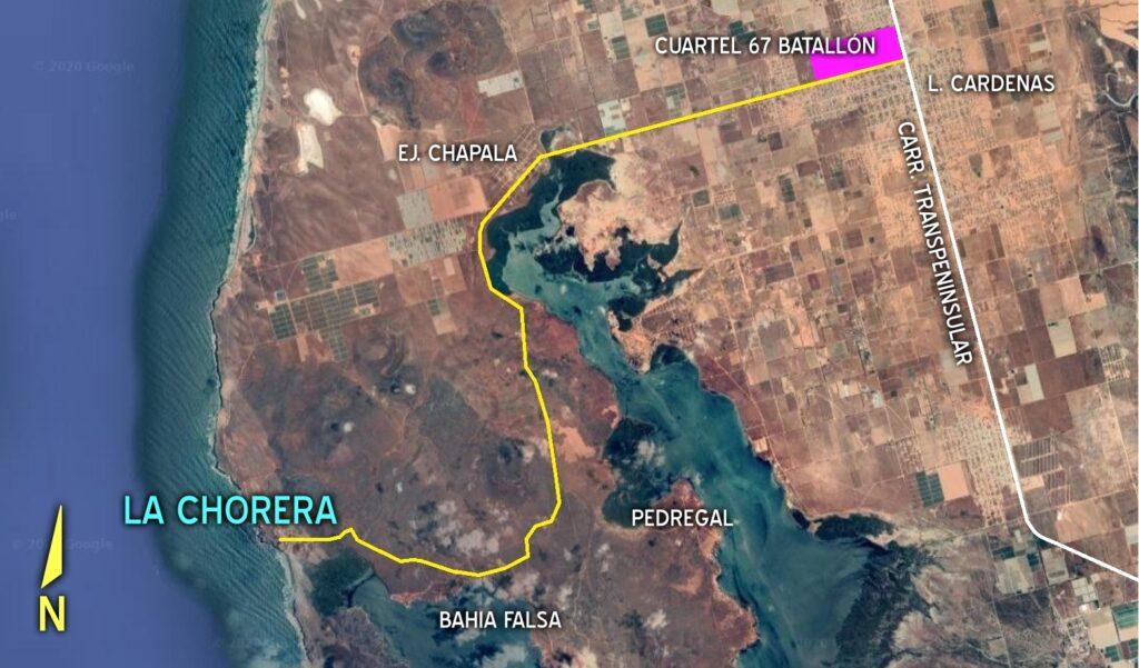Map to La Chorera from San Quintin, Baja California Mexico
