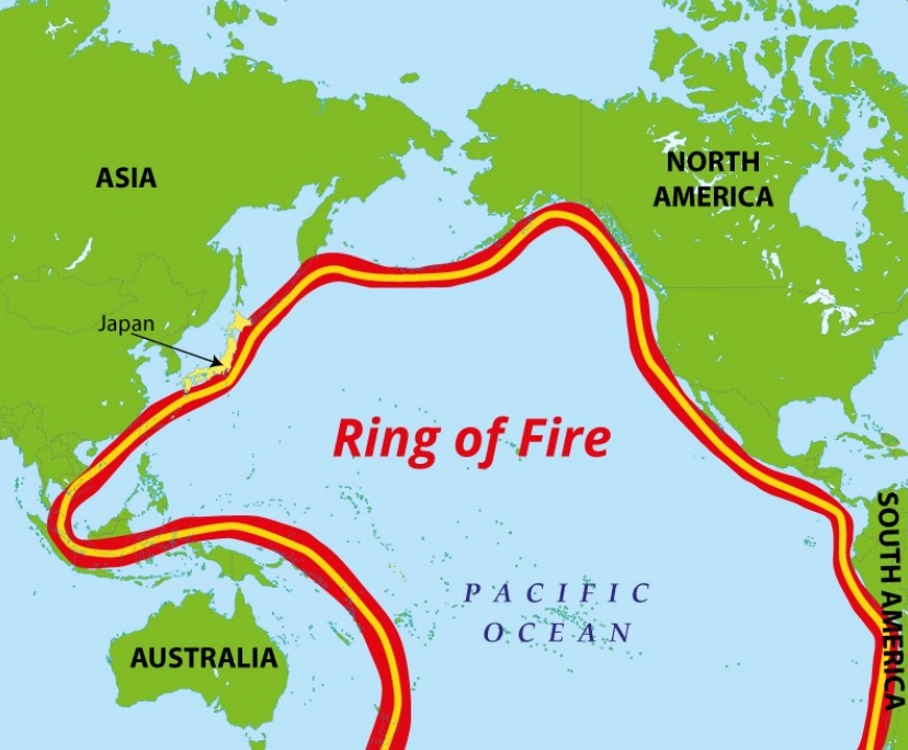 Mount Soputan, Pacific ring of fire map