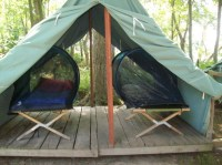 Boy Scout Mosquito Tent on Cots in a Canvas Wall Tent