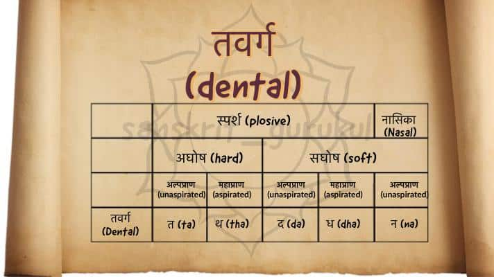 तवर्ग dental group of Sanskrit Alphabet