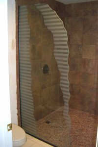 frosted glass shower panel - Sans Soucie Art Glass