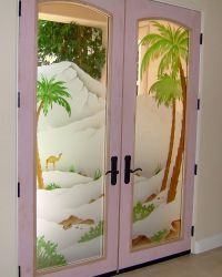 Frosted Glass Doors - Tree Designs - Sans Soucie Art Glass
