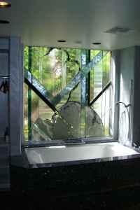 stained glass bathroom window - Sans Soucie Art Glass