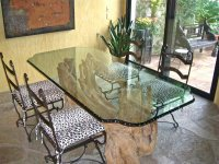 Glass tables with chipped edge - Sans Soucie Art Glass