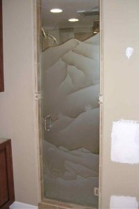 Custom Showers with Frosted Glass Designs
