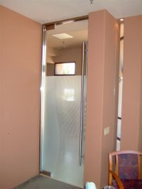 frosted frameless glass doors