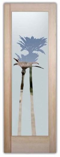Palm Trees Frosted on Glass Doors - Sans Soucie Art Glass