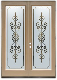 Double Entry Doors with Frosted Glass Designs