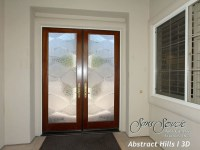 Double Entry Doors with Custom Frosted Glass