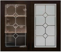 Cabinet Glass with Frosted Designs - Sans Soucie Art Glass