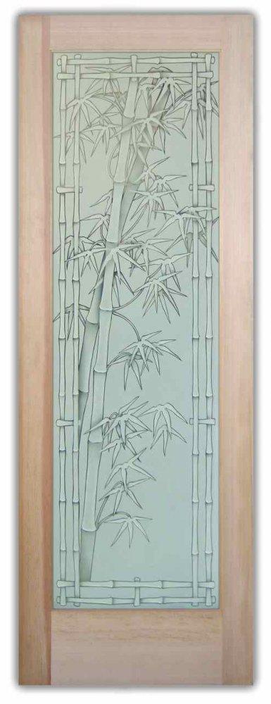 Bamboo Shoots 3D Etched Glass Doors Asian Decor