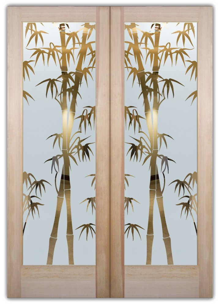 Bamboo Shoots Etched Glass Front Doors Asian Style