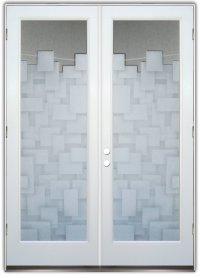 Cubes 2D Pair Etched Glass Doors Modern Design