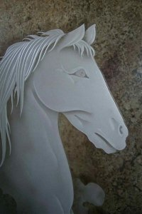 Horse Bust Custom Showers Etched Glass Western Design