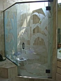 Trpcl Plms Glass Shower Doors Etched Glass Tropical Style