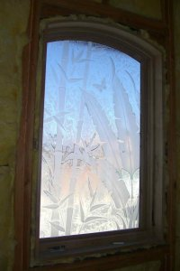 Bna Lvs & Bmbo Glass Window Etched Glass Tropical Style