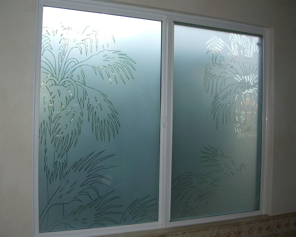 Date Palm Pncls Glass Window Etched Glass Western Decor