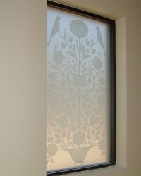 Floral Perch ll Glass Window Etched Glass French Design