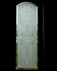 Iron Bars V Glass Window Etched Glass Tuscan Design
