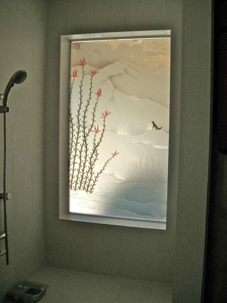 Octlo Drt Cte ll Glass Window Etched Glass Western Design