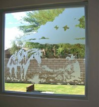 Open Fire Glass Window Etched Glass Western Decor